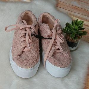 Zara pink fuzzy sneakers. Size 6